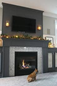 fireplace with side cabinets