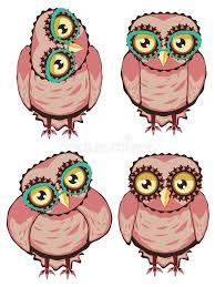 cute cartoon owl with eyeglasses stock