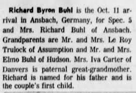 Richard Byron Buhl birth announcement - Newspapers.com