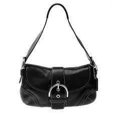 coach black leather buckle shoulder bag