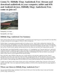 Hillbilly Elegy Audiobook Free by ...
