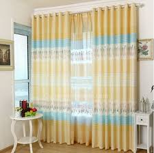 Bright Yellow And Blue Polyester Privacy Kids Curtain