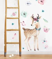 Wall Decal For Girls Deer With Flowers Flowers Wall Decals Etsy