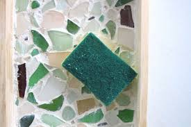 summer decor with sea glass trays