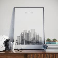 Houston Cityscape Art Print Texas Wall Home Decor Arts Decor Com