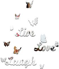 Dipola Live Laugh Love Quote Removable Wall Art Stickers Mirror Decal Diy Room Decor