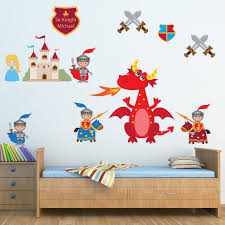 Dragon Knight Wall Decal Non Toxic Reusable Fabric Wall Decals Etsy