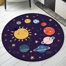Cartoon Planet Pattern Round Rug Cute Solar System Kids Room Carpet Purple Space Rug Boys Bedroom Circle Rugs Bedside Carpet Aliexpress