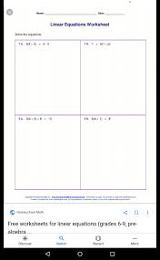 ones linear equations worksheet eqt