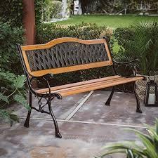 outdoor garden bench wood and metal