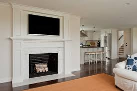 tv over fireplace transitional