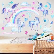 Rainbow Unicorn Kids Art Wall Stickers Gallery Wallrus Free Worldwide Shipping