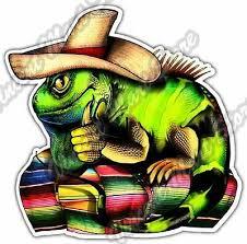 Sombrero Iguana Lizard Mexican Hispanic Flag Car Bumper Vinyl Sticker Decal 4 6 Ebay