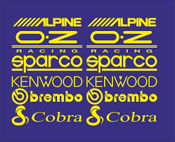 Alpine Oz Kenwood Brembo Cobra Car Stickers Decal Yellow Sk 001 Ebay