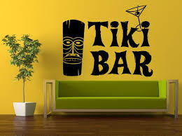 Wall Decal Vinyl Sticker Decals Peal And Stick Cheap Decor Art Aloha Tiki Bar Hawaii Cocktails Totem Surfing Surf Boards Big Huge L413 Wall Decor Amazon Vinyl Wall Decals Flower Wall