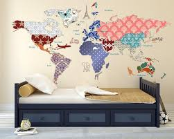 Cultural World Map Decal Butterfly Pattern Map Wall Decal Clear Vin Walls2lifedecals
