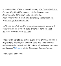 Cat S Cradle On Twitter Psa If You Have Tickets To Connellsmusic This Saturday 9 15 At Rlt1936 We Are Rescheduling To Saturday September 29 Please Note The New Door And Starting Times If