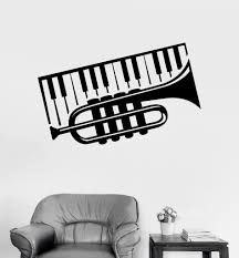 Vinyl Wall Decal Trumpet Piano Musical Instrument Music Decor Stickers Unique Gift Ig3093 Vinyl Wall Decals Music Decor Wall Decals