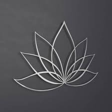 silver lotus flower metal wall art