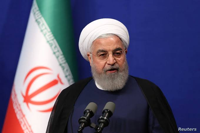 FILE PHOTO: Iranian President Hassan Rouhani speaks at a news conference on the sidelines of the United Nations General Assembly in New York, U.S., September 26, 2019. REUTERS/Brendan McDermid