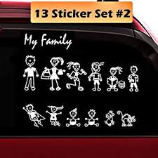 Amazon Com Totomo 13 Stick Figure My Family Car Stickers Style 2 With Pet Dog Cat Family Car Decal Sticker For Windows Bumper Automotive