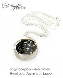 working compass necklace vintage map and quote so you can