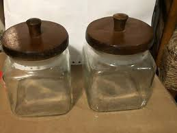 vintage glass canisters clear square