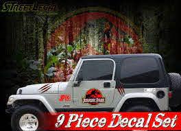 9 Piece Jurassic Park Vinyl Graphics Decals Set Rubicon Jk Tk Door Sti Street Legal Decals