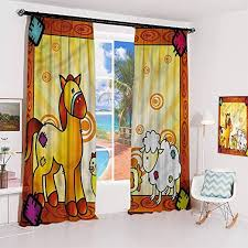 Amazon Com Guuvor Kids Studio Partition Living Room Curtain Zoo Animal Horse Sheep For Living Room Or Bedroom W100 X L84 Inch Home Kitchen