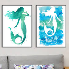 Girls Room Decor Watercolor Mermaid Print And Poster Hand Drawn Wall Art Picture Print On Canvas Nordic Style Kids Room Decor Painting Calligraphy Aliexpress