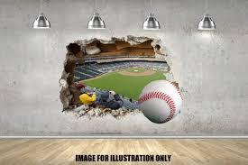 Baseball 3d Smash Adhesive Posters Panels Wall Sticker Multi Etsy