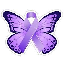 Epilepsy Awareness Purple Ribbon Butterfly Car Bumper Sticker
