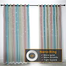 Hughapy Star Curtains Stars Blackout Curtains For Kids Girls Bedroom Living Room Colorful Double Layer Star Cut Out Stripe Window Curtains 1 Panel 52w X 84l Pink Blue