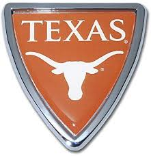 Amazon Com The University Of Texas Longhorns Metal Auto Emblem Chrome Black Trim Arts Crafts Sewing