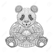 Hand Drawn Tribal Panda Animal Totem For Adult Coloring Page