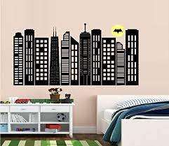 Amazon Com Bestpriceddecals Gotham City Skyline 2 Children Wall Decal Large 20 X 40 Home Kitchen