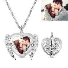 engraved heart photo necklace memorial gift