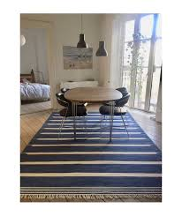 blue stripes dhurrie carpet indigo