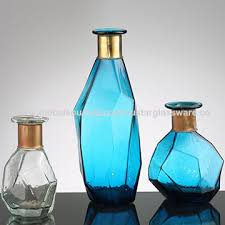 hand blown art style blue glass vases