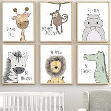 Nordic Cartoon Animal Canvas Poster Kids Room Hanging Wall Art Painting Decor Ebay