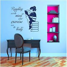 Amazon Com Girl Reading Book Vinyl Wall Sticker For Kids Room Mural Quote Decal Library Bedroom Home Decor Art Poster 57x62cm Kitchen Dining