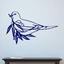 Dove Holding Olive Branch Bird Wall Sticker Decal World Of Wall Stickers