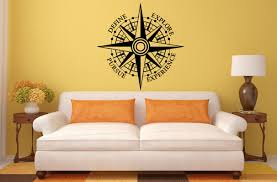 Compass Navigation Design Interior Wall Graphic Decal Sticker Vinyl Mural Leaving Bedroom Room Home Decor Free Shipping L Antidiler