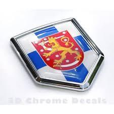 Amazon Com Finland Flag Emblem Chrome Car Decal Sticker Automotive