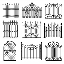 Premium Vector Decorative Black Silhouettes Of Fences With Gates Vector Set