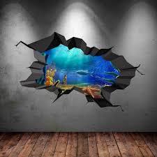Sea Wall Decal Under Sea Decals Fish Aquarium Decor Cracked Wall Decal Premium Vinyl Decals 3d Ocean Decals In 2020 Etsy Wall Art Sticker Wall Art Sticker Art