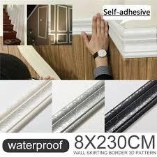 3d Self Adhesive Wall Molding Skirting Line Mural Border Sticker Home Decor Wish