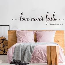 Love Never Fails 1 Corinthians 13 Wall Sticker Bedroom Wedding Family Love Bible Verse Quote Wall Decal Living Room Vinyl Decor Wall Stickers Aliexpress