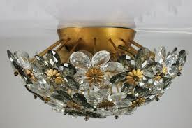 vintage diamond cut glass blossom flush