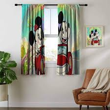 Amazon Com Zhihdecor Drapes Girls Mickey Minnie Mouse 18 Jpg Curtains For Kids Living Room Home Kitchen